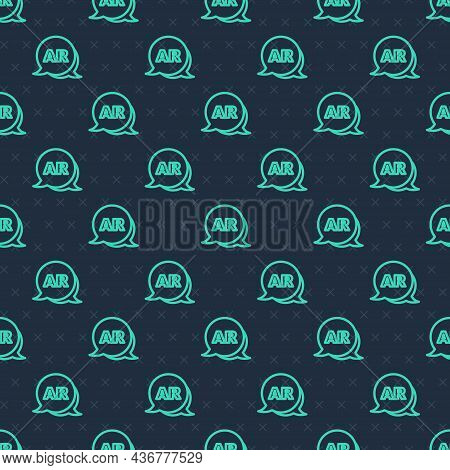 Green Line Augmented Reality Ar Icon Isolated Seamless Pattern On Blue Background. Virtual Futuristi
