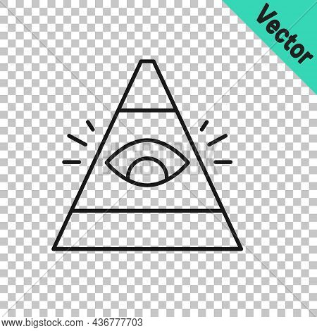 Black Line Masons Symbol All-seeing Eye Of God Icon Isolated On Transparent Background. The Eye Of P