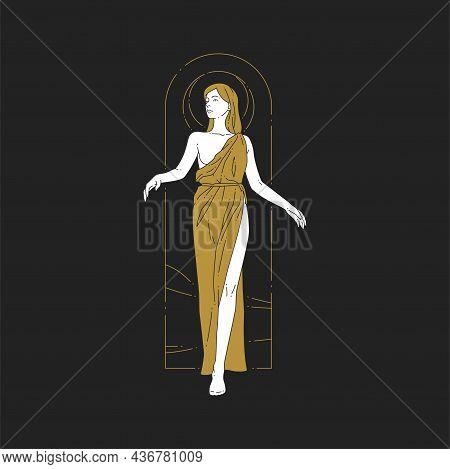 Woman Antique Greek Goddess In Vintage Dress Posing Mythology Symbol Spiritual Frame Line Art Logo