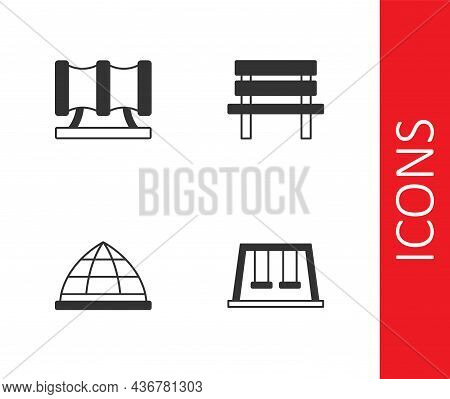 Set Swings For Kids, Kid Playground Slide Pipe, Playground Climbing Equipment And Bench Icon. Vector