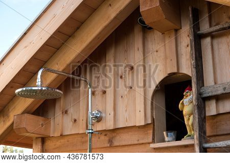 Outdoor Shower With A Nude Garden Gnome