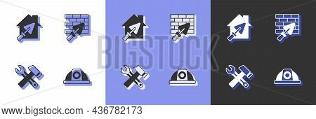 Set Worker Safety Helmet, House With Trowel, Hammer And Wrench Spanner And Brick Wall Icon. Vector