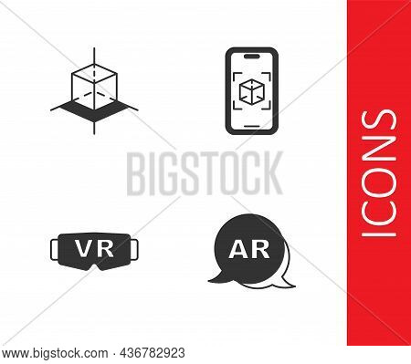 Set Augmented Reality Ar, 3d Modeling, Virtual Glasses And Icon. Vector