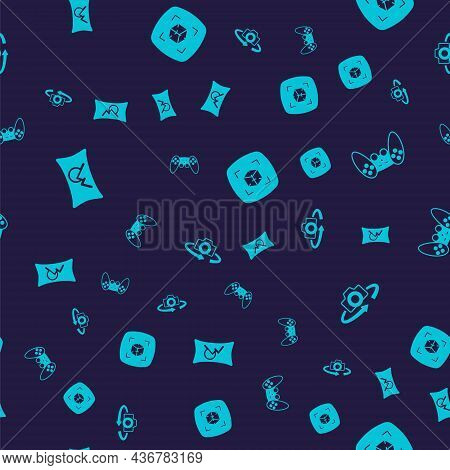 Set Wide Angle Picture, Gamepad, 3d Modeling And 360 Degree View On Seamless Pattern. Vector