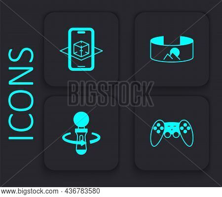Set Gamepad, 3d Modeling, 360 Degree View And Vr Controller Game Icon. Black Square Button. Vector