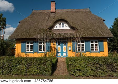 Born On Darss, Germany - October 06, 2021: The Village Is Known For Its Picturesque Colorful Thatche