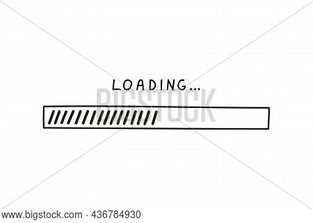 Load Bar 2022 New Year In Doodle Style, Vector Illustration. Hand Drawn Loading Symbol, Black Isolat