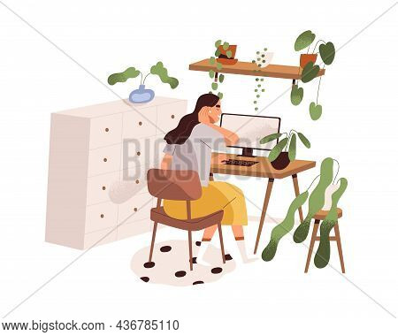 Woman Work With Computer, Sitting At Desk In Home Office. Freelancer At Modern Cozy Remote Workplace