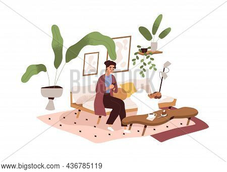 Woman On Sofa With Mobile Phone In Living Room. Person Use Smartphone And Social Media, Sitting On C