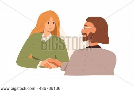 Handshake Of Business Partners. Colleagues, Man And Woman, Shaking Hands, Making Deal, Agreeing. Par