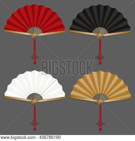 Realistic Detailed 3d Color Chinese Hand Fans Set. Vector Illustration Of Traditional Oriental Paper