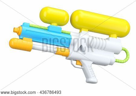 Plastic Water Gun Toy For Playing In The Swimming Pool Isolated On White