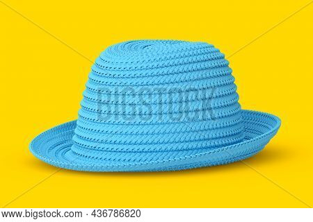 Vintage Blue Straw Beach Sun Hat Isolated On Yellow And Sun Protection