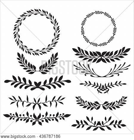 Hand Drawn Vector Round Frame. Floral Wreath With Leaves, Berries, Branches Decorative Elements For