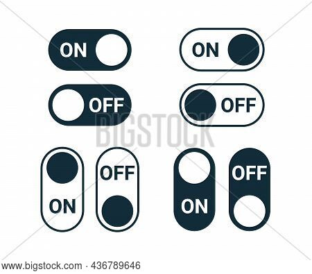 On Off Switch Slide Button, Icon Toggle Control. Graphic Touch Navigation Interface. Vector Sign