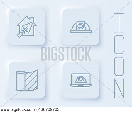 Set Line House With Trowel, Worker Safety Helmet, Wallpaper And . White Square Button. Vector