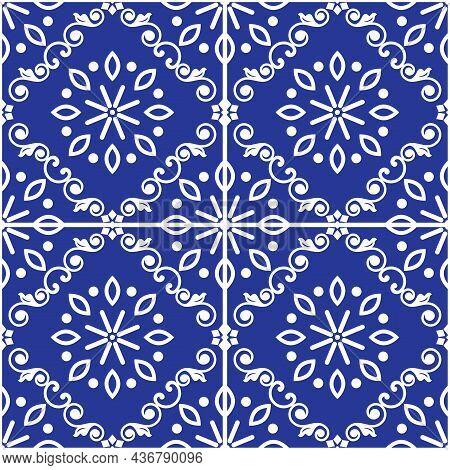 Lisbon Style Azulejo Tile Seamless Vector White On Navy Blue Pattern, Elegant Decorative Design Insp