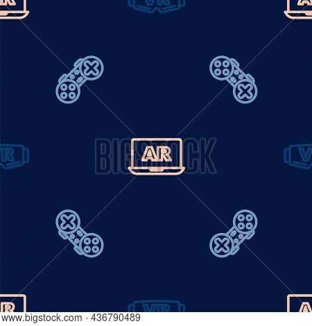 Set Line Virtual Reality Glasses, Gamepad And Augmented Ar On Seamless Pattern. Vector