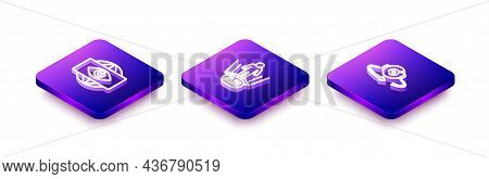 Set Isometric Line Big Brother Electronic Eye, Augmented Reality Ar And 360 Degree View Icon. Vector