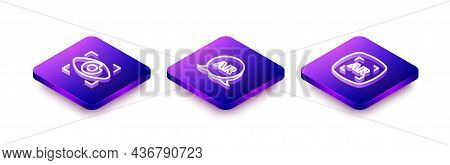 Set Isometric Line Big Brother Electronic Eye, Augmented Reality Ar And Icon. Vector