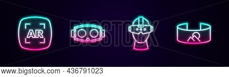 Set Line Augmented Reality Ar, Virtual Glasses, And 360 Degree View. Glowing Neon Icon. Vector