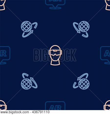 Set Line Augmented Reality Ar, 3d Modeling And Virtual Glasses On Seamless Pattern. Vector