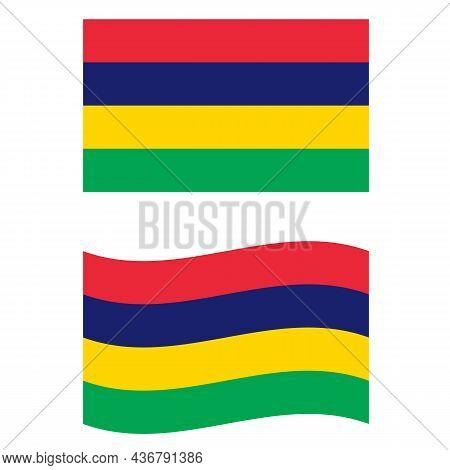 Original And Simple Mauritius Flag On White Background. Flag Of Mauritius. Waving Mauritius Flag. Fl