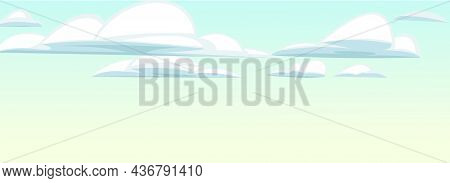 Sky Clouds Horizon. Illustration In Cartoon Style Flat Design. Heavenly Atmosphere. Vector..