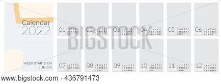 Vertical Wall Calendar Template For 2022 Year. Set Of 12 Months. Week Starts On Sunday. Planner In M