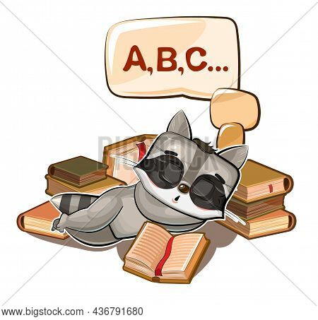 Baby Raccoon Sleeps On Books. Dreaming Of A Dream With Letters. Abc. Childrens Illustration. Nice. T