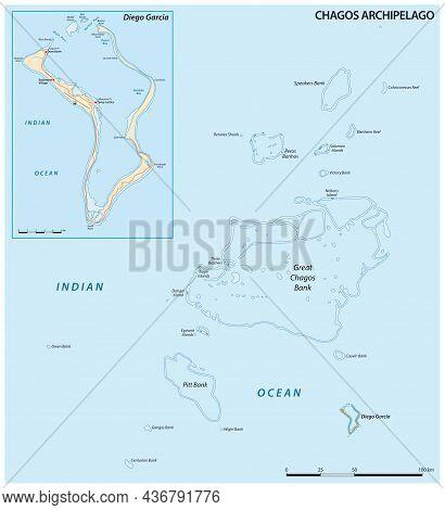 Vector Map Of The Chagos Archipelago, British Indian Ocean Territory, United Kingdom