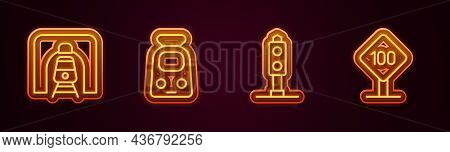 Set Line Train In Railway Tunnel, And, Traffic Light And Speed Limit Sign 100 Km. Glowing Neon Icon.