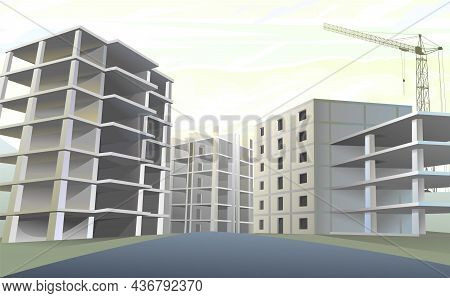 Building Construction Quartile. Lifting Crane. Reinforced Concrete Slabs And Floors. Residential Hou