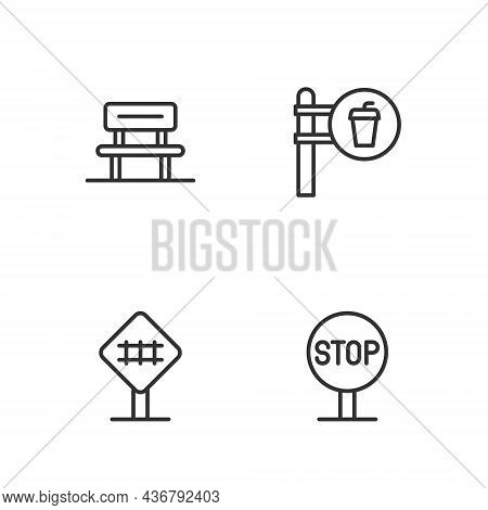 Set Line Stop Sign, Railroad Crossing, Waiting Hall And Cafe And Restaurant Location Icon. Vector
