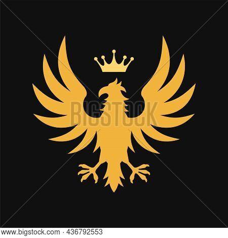 Gold Heraldic Royal Emblem On Black Background. Vector