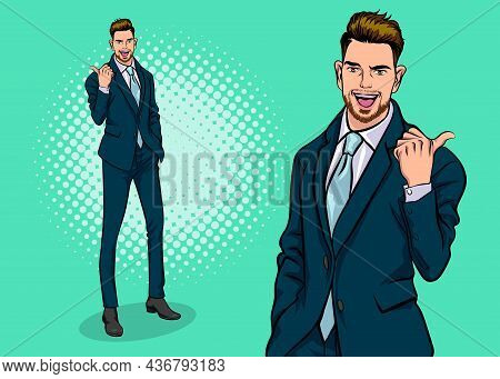 Smart Business Man Bearded Point And Presenting  Pop Art Retro Comic Style