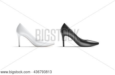 Blank Black And White High Heels Shoes Mockup, Profile View, 3d Rendering. Empty High-heeled Boots M