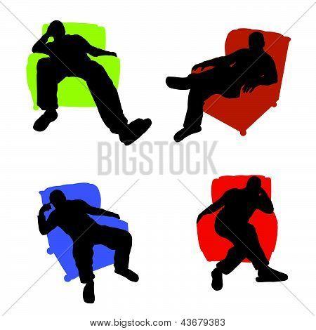 Man Sitting In An Armchair Vector Illustration