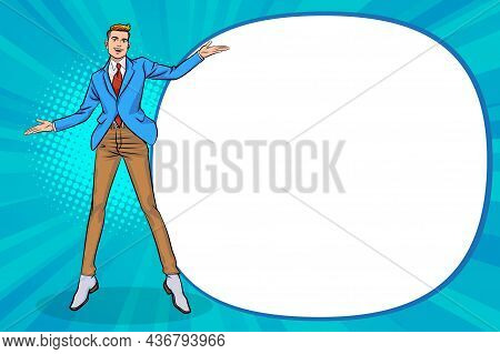 Young Business Man Pointing Hand And Showing Or Presenting Something Pop Art Style  Pop Art Comics S