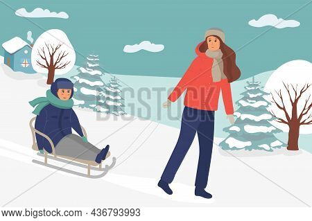 Mother Sled With Her Child. Parent, Kid Having Fun Outdoors Together. Family Rest. Winter Leisure Ac