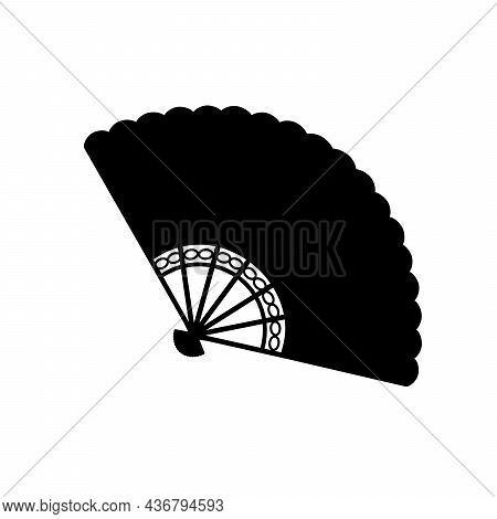 Silhouette Oriental Traditional Folding Fan. Illustration Symbol Icon