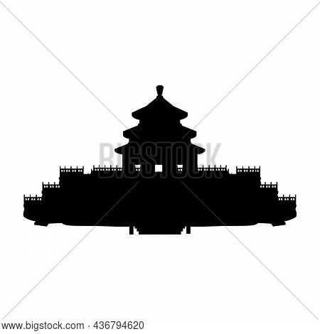 Silhouette Temple Of Heaven. China Ancient Historical Architecture. Illustration Symbol Icon