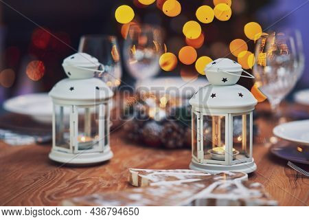 Picture of christmas table decoration with candles