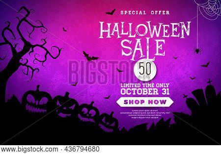 Halloween Sale Banner Illustration With Spooky Pumpkins, Cemetery And Flying Bats On Mystery Violet
