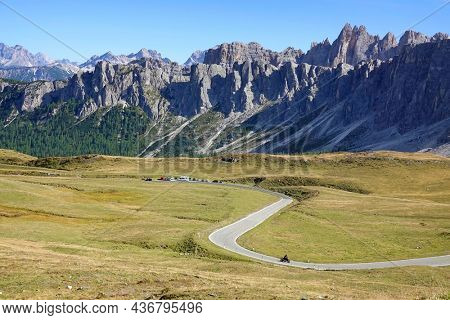 Scenic landscape of Giau Pass or Passo di Giau - 2236m. Mountain pass in the province of Belluno in Italy, Europe