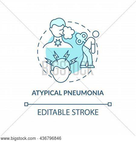Atypical Pneumonia Blue Concept Icon. Pulmonary Inflammation Type Abstract Idea Thin Line Illustrati