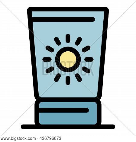 Useful Sunscreen Cream Icon. Outline Useful Sunscreen Cream Vector Icon Color Flat Isolated