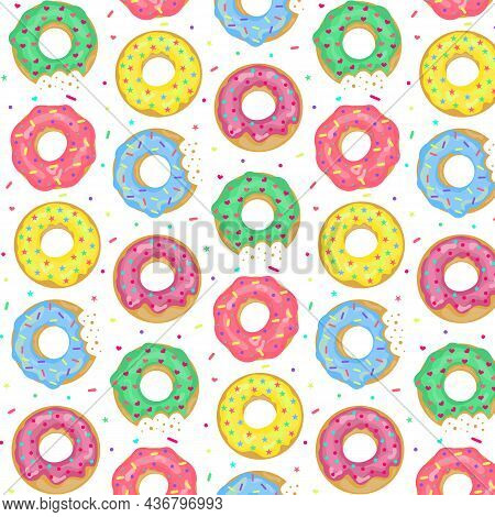 Donuts  Pattern. Glazed Colourful Donuts Sweet Dessert Background. Whole And Bitten Vercion.