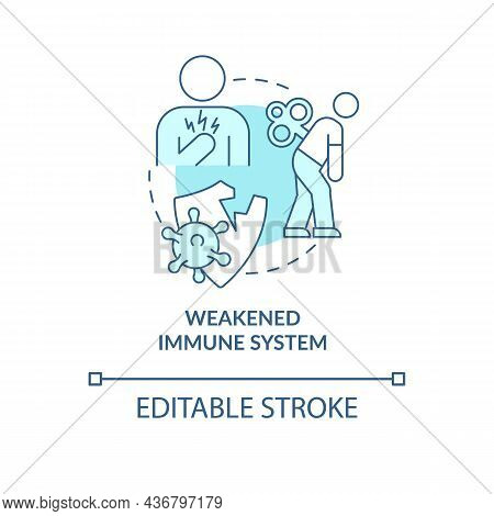 Weakened Immune System Blue Concept Icon. Pneumonia Risk Factor Abstract Idea Thin Line Illustration