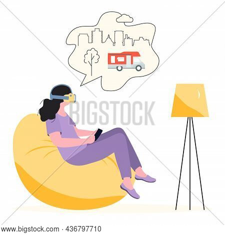 Vector Illustration Woman Wearing Virtual Reality 3d Glasses Plan Travel, Holiday Trip In Motorhome.
